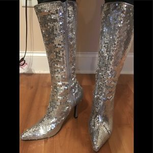 Sequin knee high boots